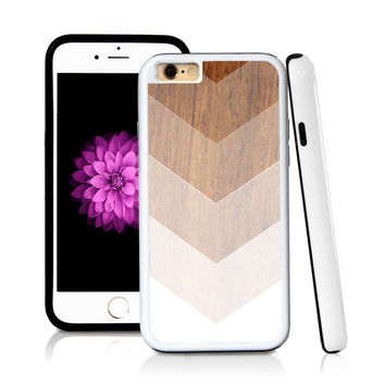 iPhone 6 case Ombre color white in Wood Texture with hard plastic & rubber protective cover