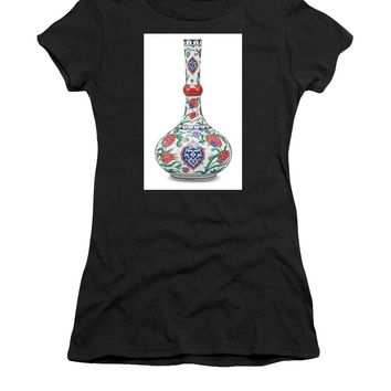 An Ottoman Iznik Style Floral Design Pottery Polychrome, By Adam Asar, No 5 - Women's T-Shirt (Athletic Fit)