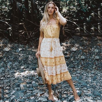 Bohemian Strap Slip Dress Yellow Floral Print Dresses Women Sleeveless Midi Dress Boho Hippie Chic Beach Dresses