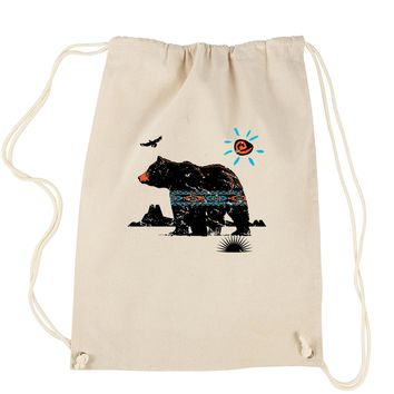 Native American Bear Southwest Drawstring Backpack