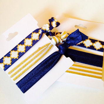 Navy and Gold Hair Tie Set, Tugless Hair Ties in Navy and Metallic Gold, Striped and Gold Foil Ties, Blue and Gold Stocking Stuffers
