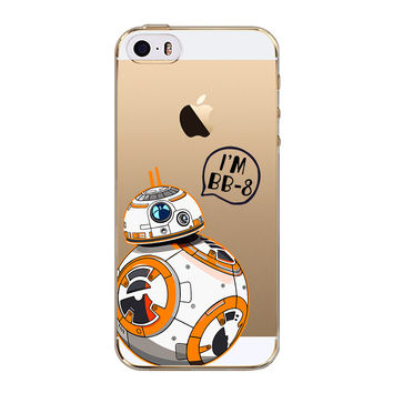 For iPhone 5S Case Star Wars The Force Awakens BB-8 Droid Robot Soft TPU Back Cover Case for iPhone 5 5S