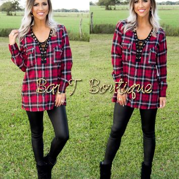 Rebel Plaid Lace Up Top