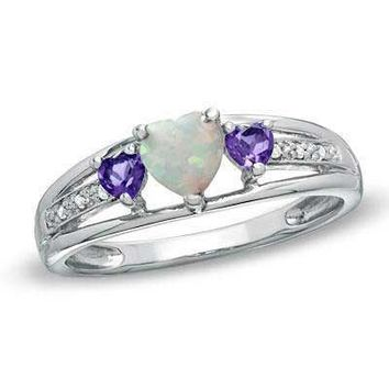 5.0mm Heart-Shaped Lab-Created Opal, Amethyst and Diamond Accent Ring in Sterling Silver - View All Rings - Zales