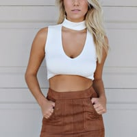 Trust In Me Ivory Choker Neck Crop Top