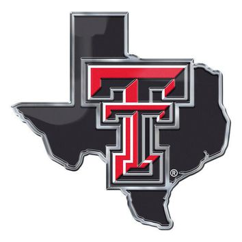 Texas Tech Red Raiders Auto or Hard Surface Emblem Decal NCAA (State Shape)
