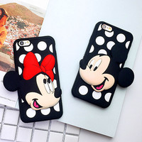 Cartoon Dot Mickey Minnie Soft Silicon DIY Phone Back Cover Cases For iPhone 7 For iPhone 5 5S SE 6 6S 7 Plus YC1274