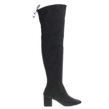 Peta21 Black By Wild Diva, Short Block Heel Over Knee Thigh High Boots w Rear Tie