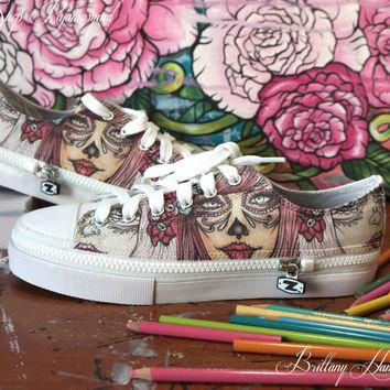 Pinky Sugar Womens Converse Shoes Pink Harajuku Tattoo Art Day of the Dead Sugar Skull