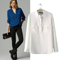 Stylish Long Sleeve With Pocket Cotton Pullover Women's Fashion Tops Shirt [5013268100]