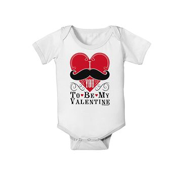 I Mustache You To Be My Valentine Baby Romper Bodysuit