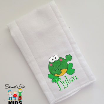 Baby Burp Cloth Embroidered with Frog Critter and Baby's Name Personalized Spit Up Cloth Custom Burp Cloth