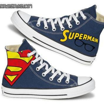 DCKL9 Superman Painted Shoes / Custom Converse