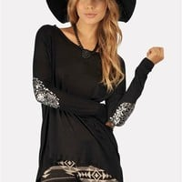 Beauty-Bow Patch Long  Shirt - Black at Necessary Clothing