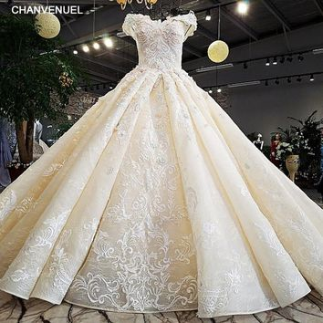 LS32412 as the picture off shoulder sweetheart ball gown lace up back hand work wedding dresses vestido de noiva real photos