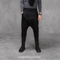 Drop Crotch Diagonal Zip Woolen Pants