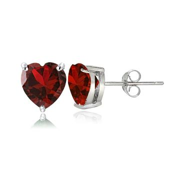 Sterling Silver Created Ruby 6mm Heart Stud Earrings