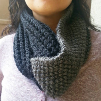 Mixed Textured Two Toned Chunky Cowl with a Twist in Black and Charcoal. Custom Order in Your Choice of Colors.