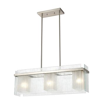 Vellis 3-Light Island Light in Satin Nickel with Textured Clear and Frosted Glass