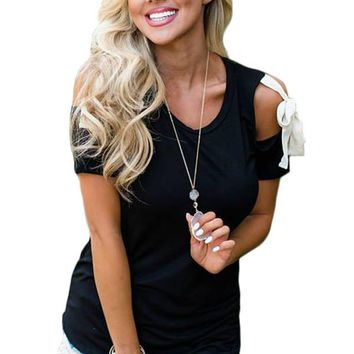 Black Cold Shoulder Top with Tie Detail