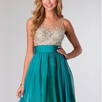 [95.99] Amazing Tulle & Silk-like Chiffon A-line Jewel Neckline Short Homecoming Dress With Beads & Rhinestones - dressilyme.com