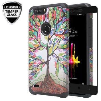 ZTE Sequoia Case, Blade Z Max, ZTE Z982 Case, [Include Temper Glass Screen Protector] Slim Hybrid Dual Layer [Shock Resistant] Case for Sequoia - Vibrant Tree
