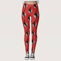 Handstand Dancer Angel Wings Red Leggings