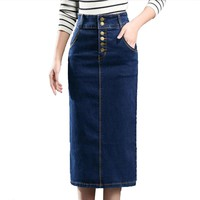 Autumn Summer Women High Waist jean Skirt Stretch Slim Split Sexy Pencil Skirts Womens 2018 Plus Size Long Denim Skirt Skinny