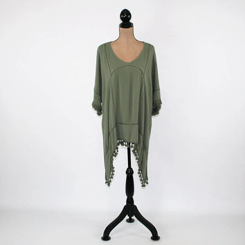 Hippie Clothes Oversized Tunic Olive Green Rayon High Low Top Boho Fringe Kaftan Shirt Women Beach Cover Up Plus Size Womens Clothing