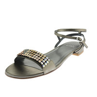 Stuart Weitzman Womens Glass Act Metallic Embellished Strappy Sandals