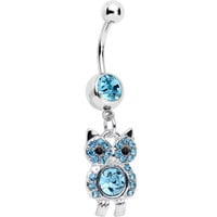 Aqua Gem Burrowing Owl Dangle Belly Ring | Body Candy Body Jewelry