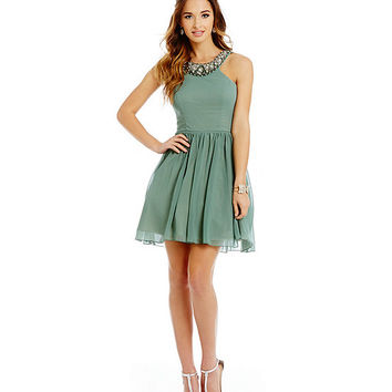 Jodi Kristopher Beaded U-Neck Party Dress | Dillards