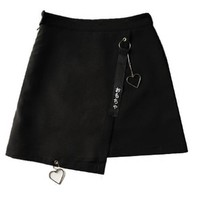 Harajuku Skirt Women Japanese Characters Embroidery On Ribbon Heart Shape Pendant High Waisted Irregular Skirts For Girl Black