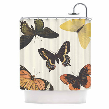 "NL Designs ""Vintage Butterflies"" Tan  Shower Curtain"