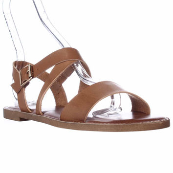 madden girl Briii Ankle Strap Flat Sandals - Cognac