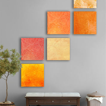 Summer sunset Abstract painting, 6 square CUSTOM Abstract Wall Art, Large abstract artwork, Orange, Yellow, Red, Poppy, Sunset