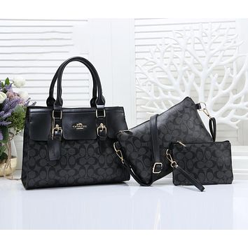 Coach Women Leather Handbag Shoulder Bag Crossbody Purse Wallet Set Three Piece Black