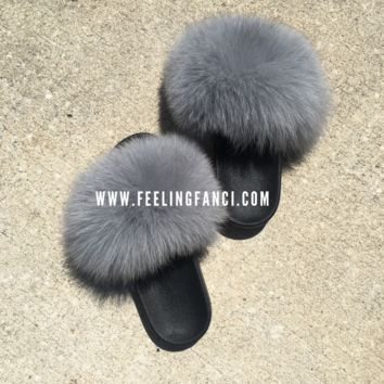 Oaki gray fox fur slides