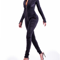 RYDAH Bodycon Katsuit in Liquorice and Chocolate