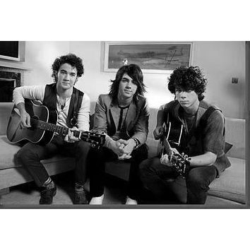 Jonas Brothers poster Metal Sign Wall Art 8in x 12in Black and White