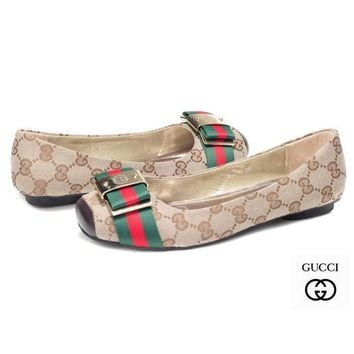 GUCCI Women Fashion Fish Mouth Low Heels Shoes-2