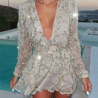 206 summer style newest dresses for women silver Sequined Dresses Fringed V-Neck clothing Summer Style Holiday women dress