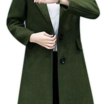 Women's Casual Thick Warm Hood Outwear Long Slim Winter Wool Peacoat