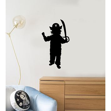 Vinyl Wall Decal Silhouette Boy Pirate Kids Room Play Art Interior Stickers Mural (ig5945)