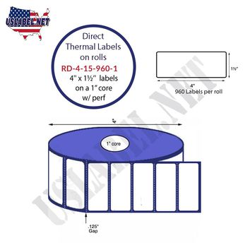 4'' x 1.5'' Premium Direct Thermal 960 Labels-4'' O.D. on 1'' core 11,520 labels.