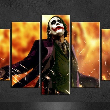 5 Pieces/set Batman Joker Poster Wall Painting Canvas Art Group Poster Of 5 Piece Canvas Art For Living Wall Art Canvas Painting