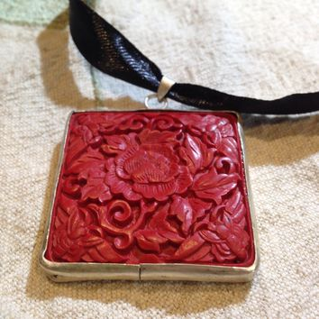 Vintage Handmade Flower Carved Cinnabar Lacquer Silver Square Pendant Necklace