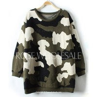 Wholesale Camouflage Pattern Stylish Round Neck Long Sleeve Women's Sweater (AS THE PICTURE,ONE SIZE), Sweater & Cardigan - Rosewholesale.com
