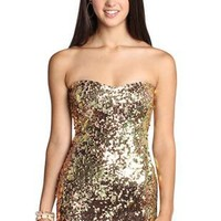 two tone golden sequin homecoming dress - debshops.com