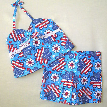 Girls summer outfit , girls shorts set , patriotic outfit , toddler shorts set , 2 piece outfit, red white blue , shorts and top, size 5